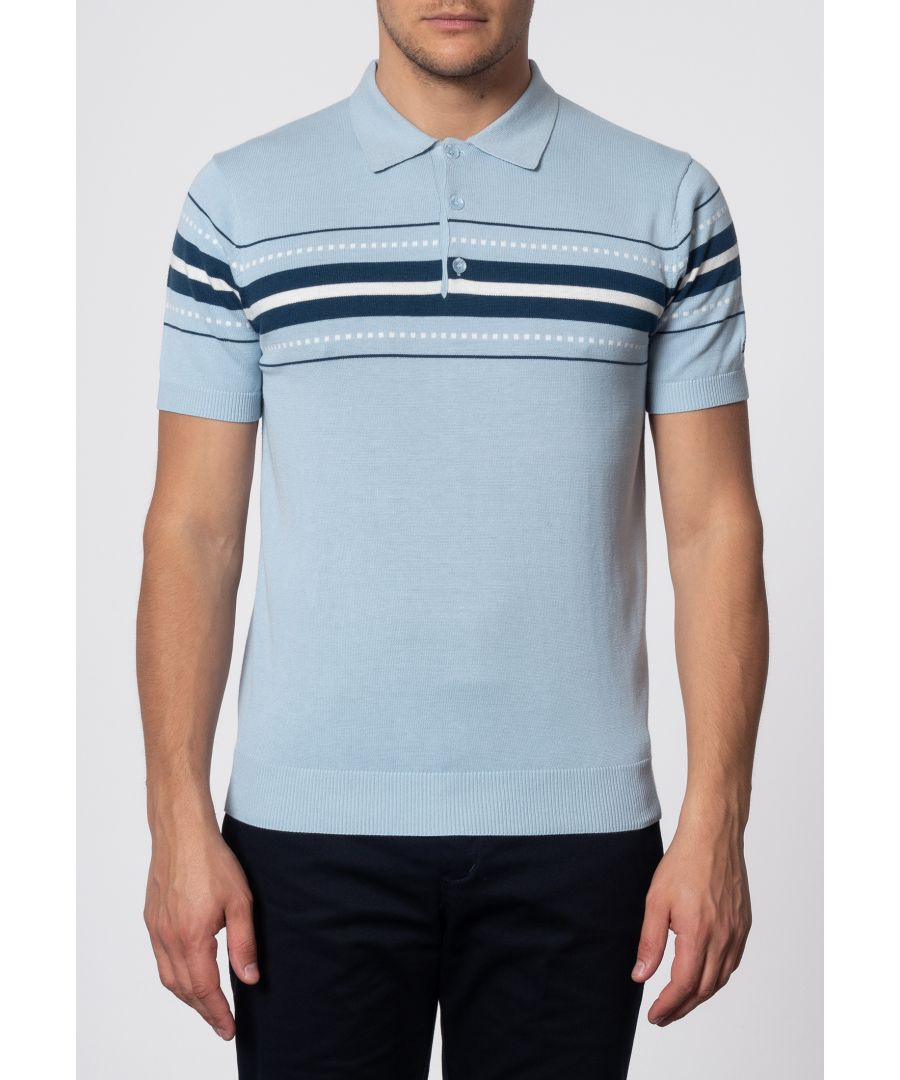 Image for Tanner Chest Stripe Knit Polo In Sky