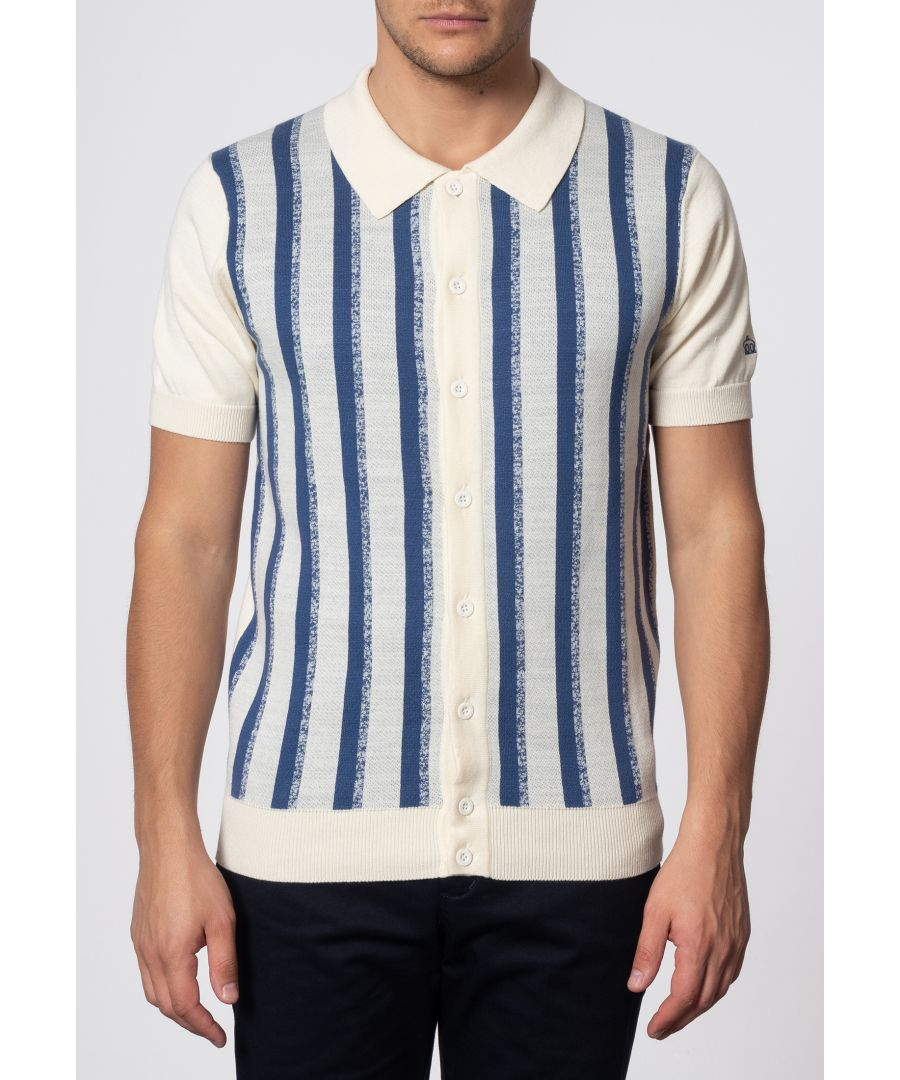Image for Wilmot Vertical Stripes Knit Polo In Cream