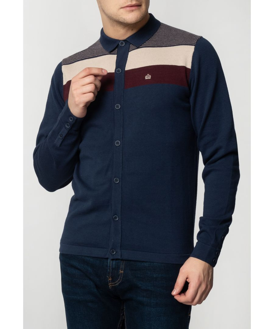 Image for Keble Mens Long Sleeve Knitted Polo With Colour Block In Dark Blue