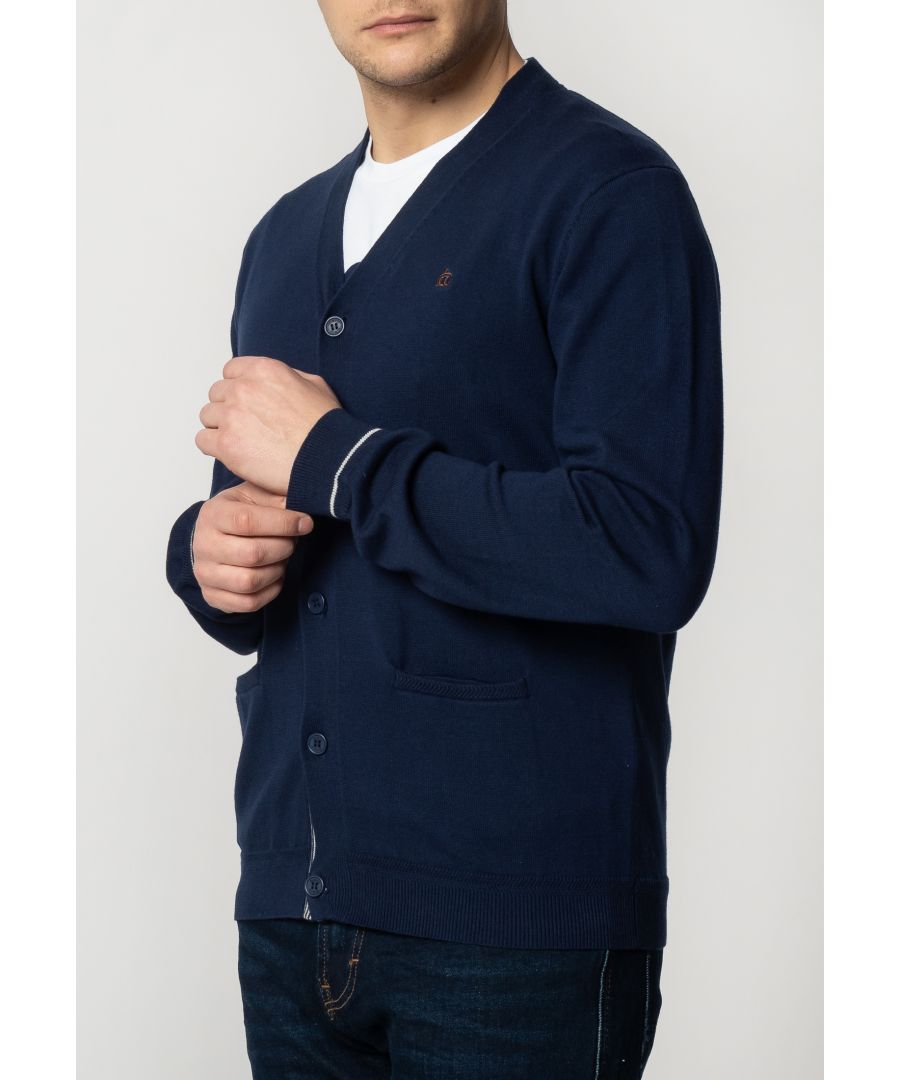 Image for Beckton Mens Fine Knitted Cotton Cardigan With Tipped Details In Navy