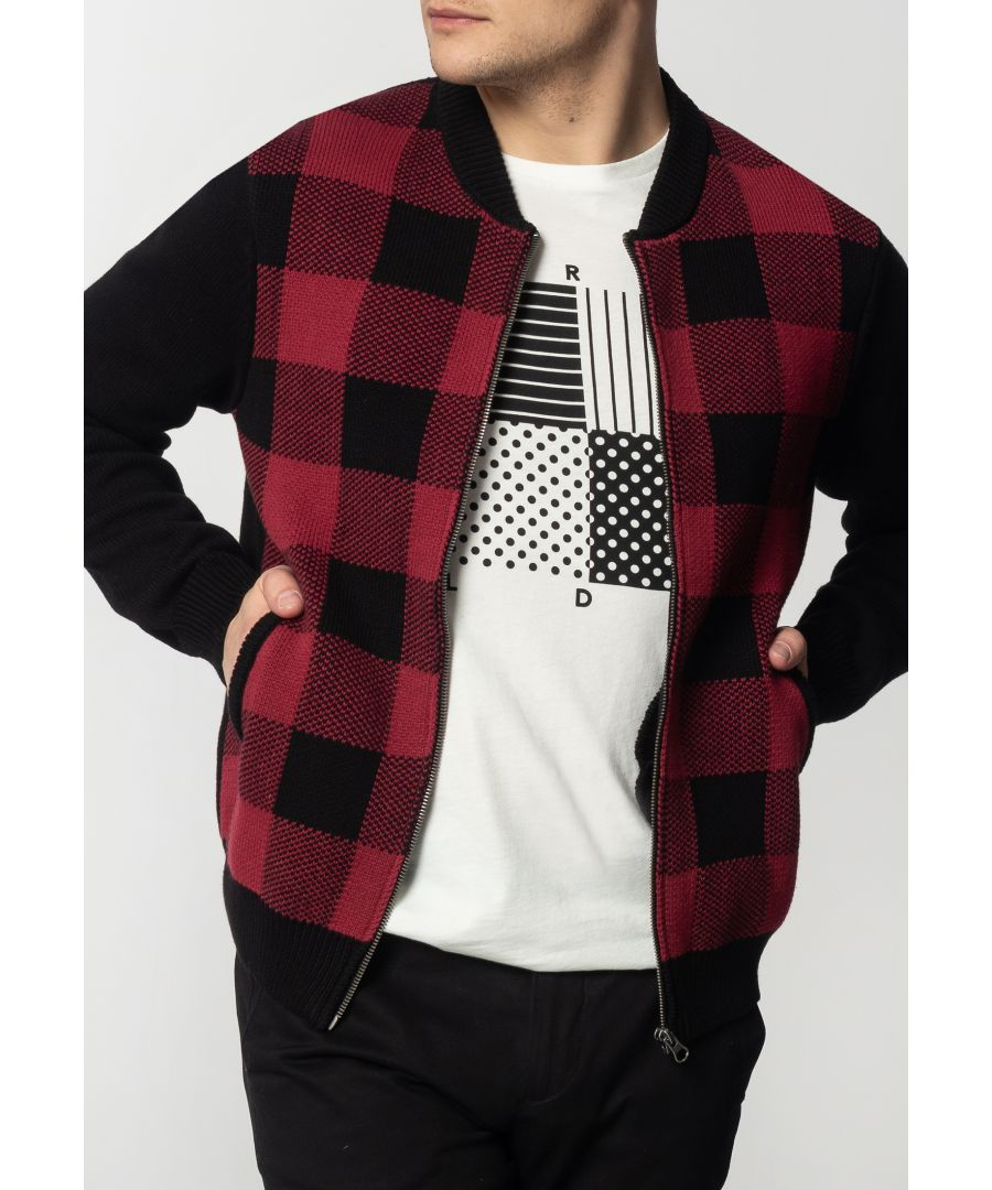 Image for Apollo Mens Chunky Cotton Cardigan With Large Check Pattern In Black/Red