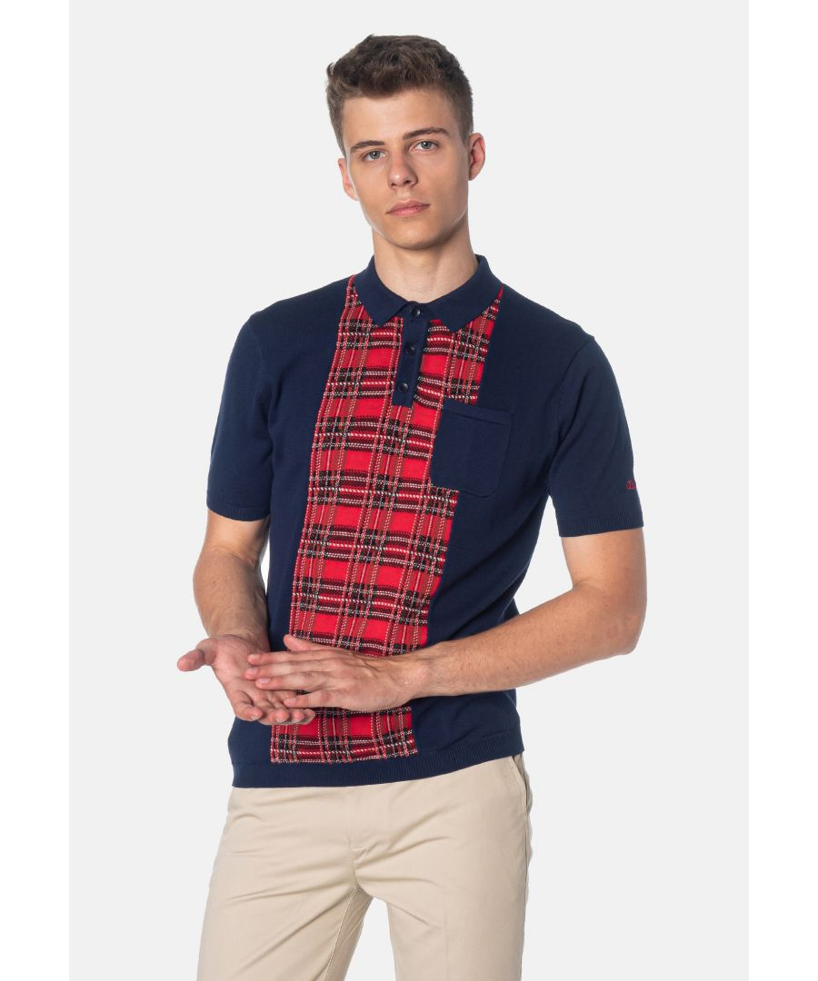 Image for Luna Tartan Panel Knitted Men's Polo Shirt in Navy