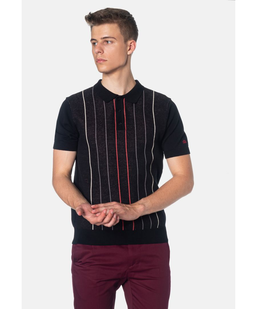 Image for Stirling Contrast Pinstripes Knitted Men's Polo Shirt in Black