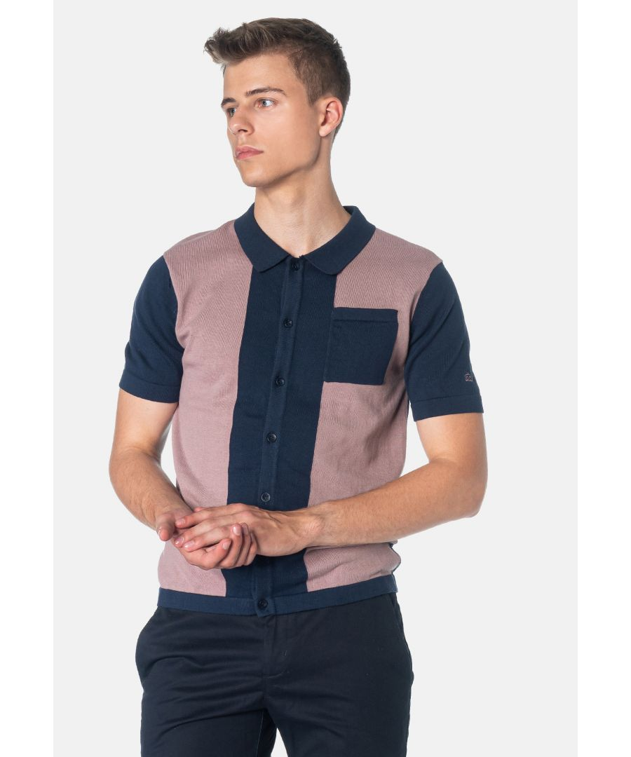 Image for Conduit Colour Block Knitted Men's Polo Shirt in Dark Blue