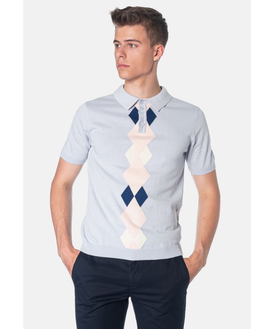 Image for Ansell Argyle Pattern Knitted Men's Polo Shirt in Boy Blue
