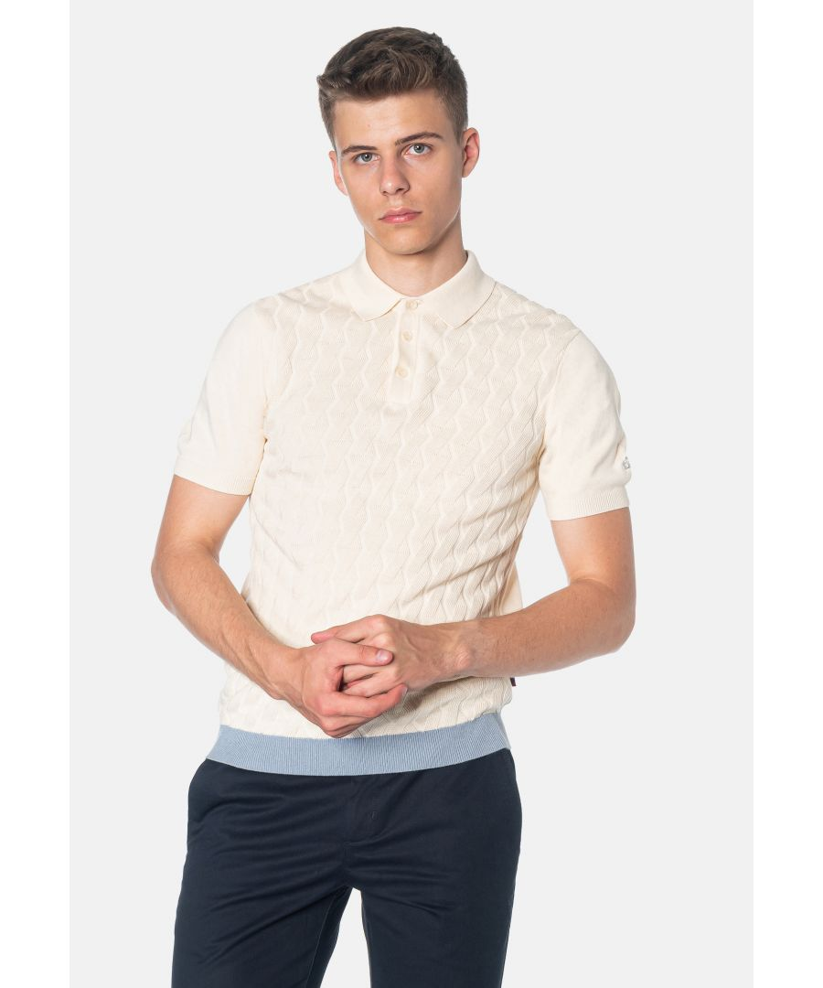 Image for Halmore Cable Knitted Men's Polo Shirt in Ivory