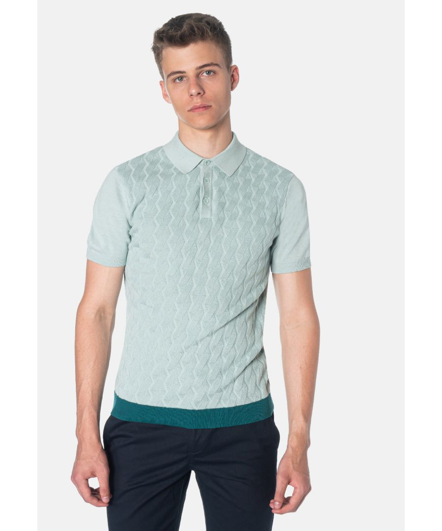 Image for Halmore Cable Knitted Men's Polo Shirt in Sea Green