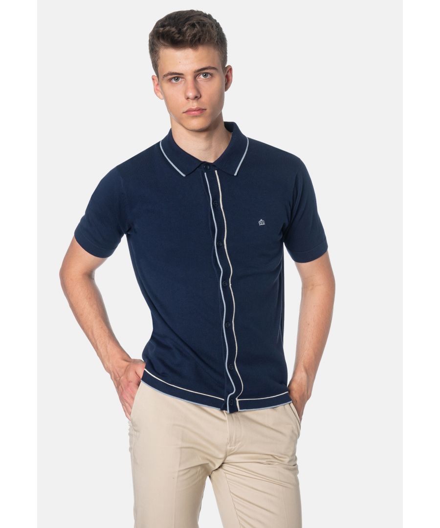 Image for Devon Contrast Tipped Details Knitted Men's Polo Shirt in Navy