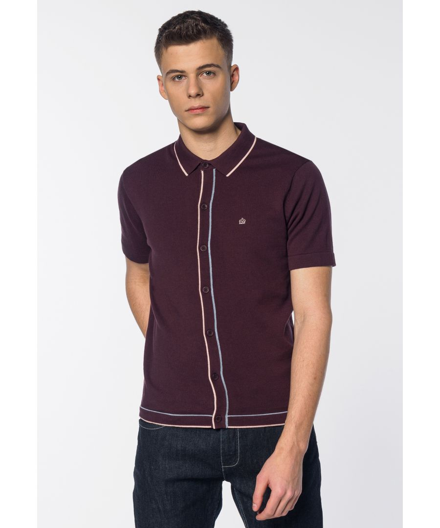 Image for Devon Contrast Tipped Details Knitted Men's Polo Shirt in Grape