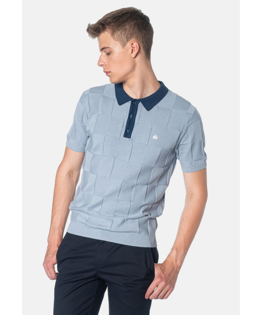 Image for Batley Textured Check Knitted Men's Polo Shirt in Dust Blue