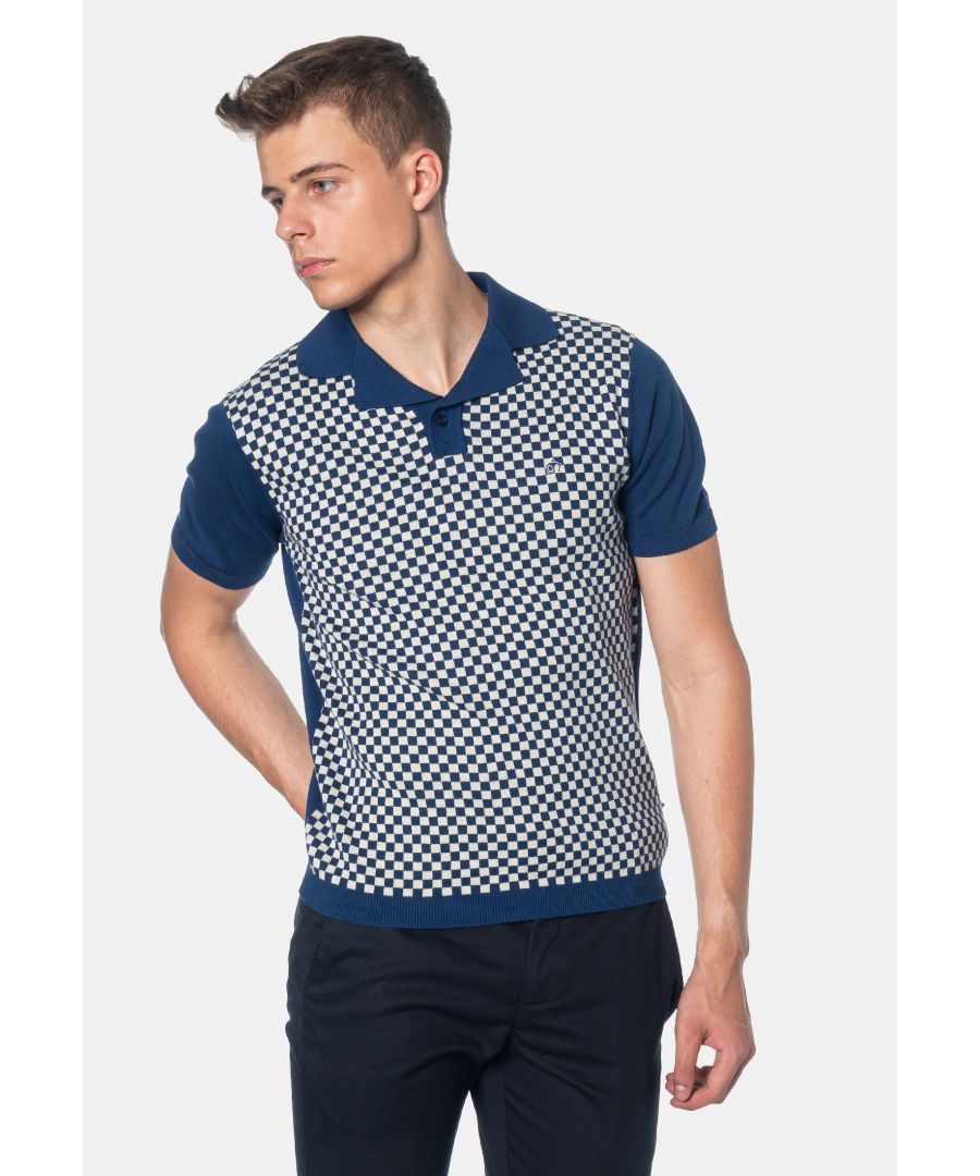Image for Wharf Checkerboard Knitted Men's Polo Shirt in Royale Blue