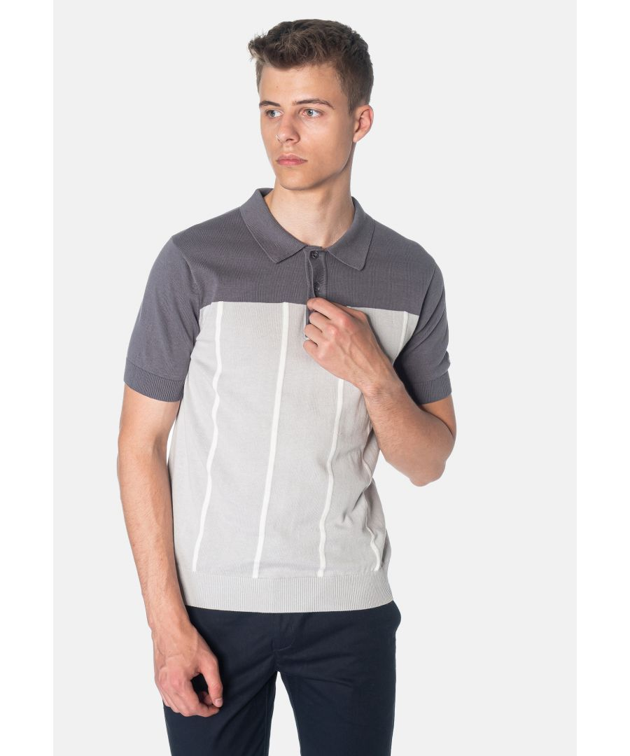 Image for Marble Colour Block Knitted Men's Polo Shirt in Dark Grey