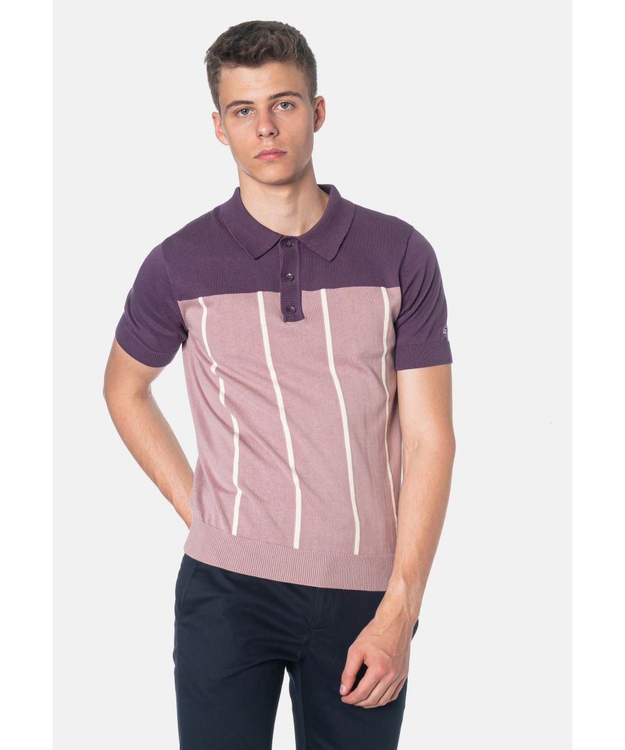 Image for Marble Colour Block Knitted Men's Polo Shirt in Plum
