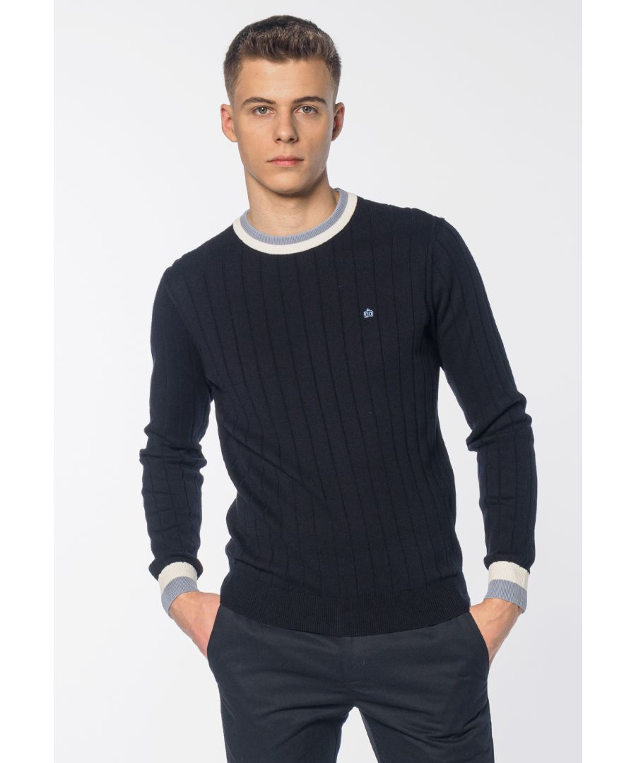 Image for Baylis Contrast Tipped Men's Jumper in Dark Navy