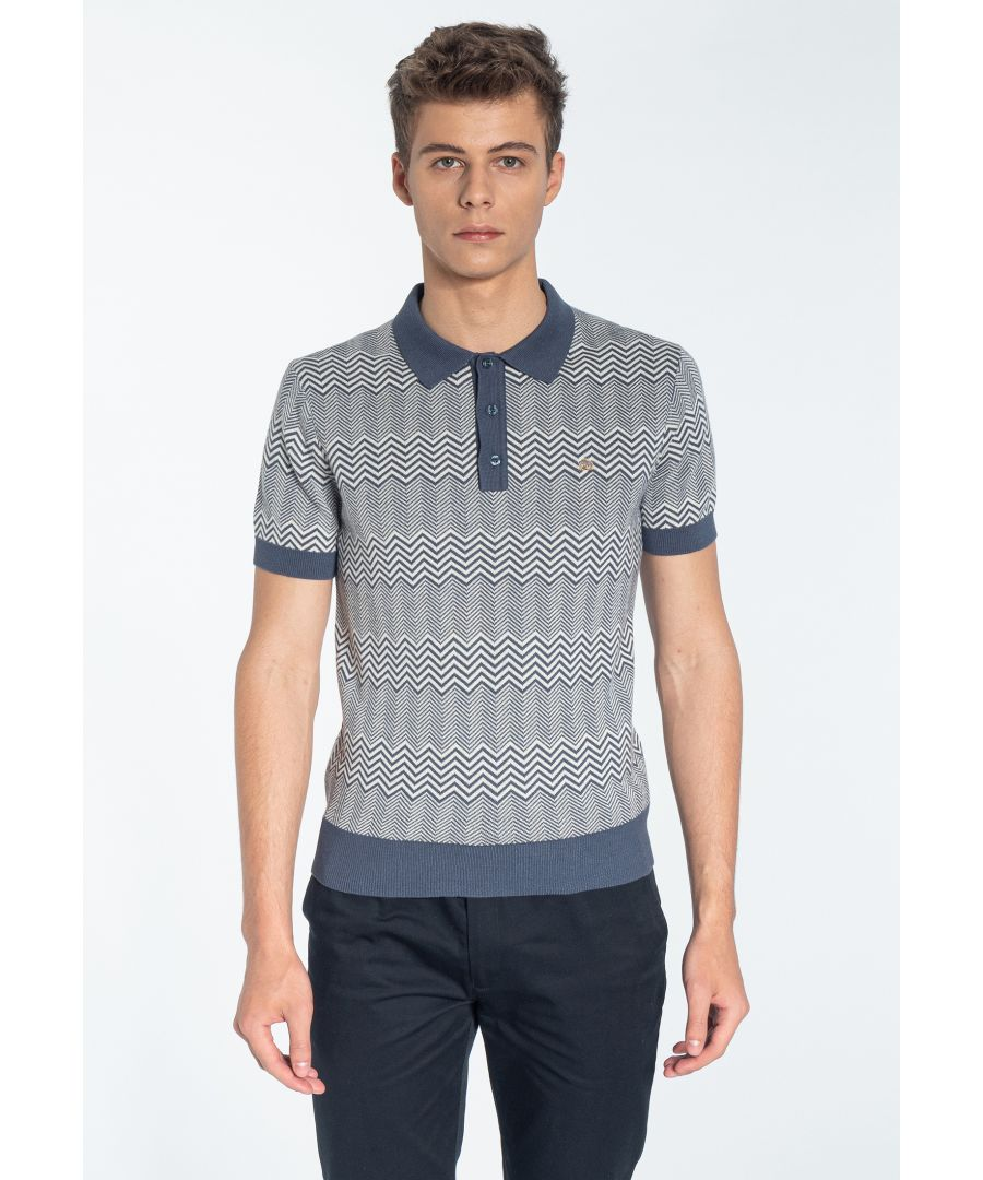 Image for BENNARD, Men's Cheveron Knitted Polo Shirt in Slate Blue