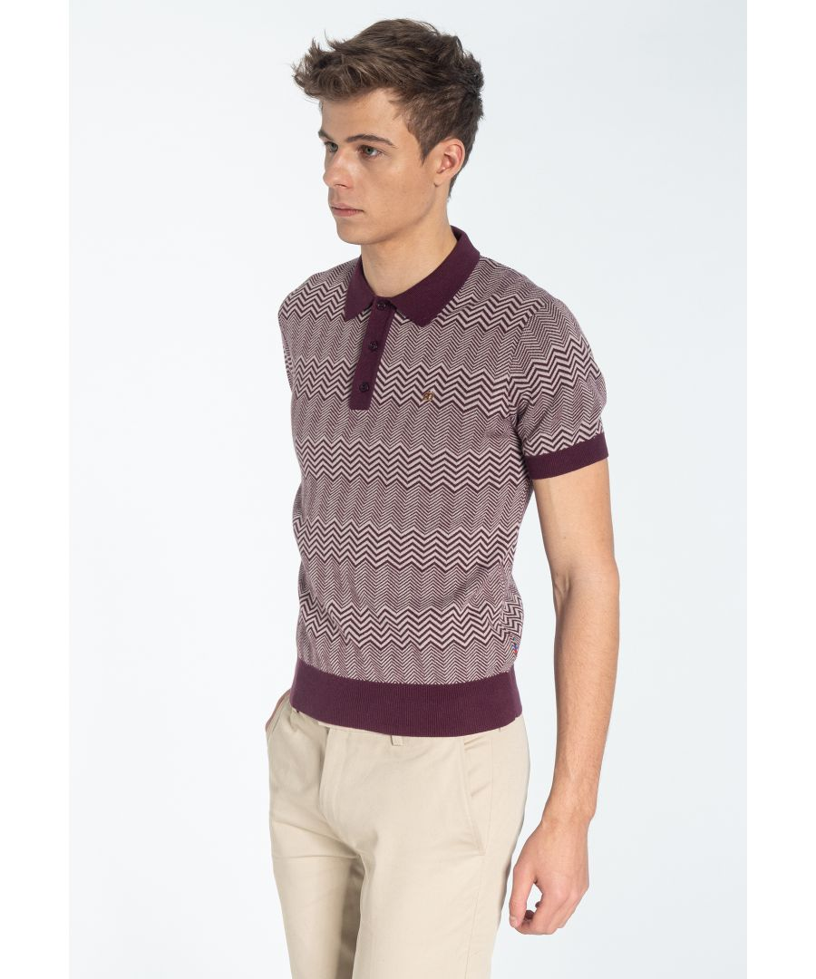 Image for BENNARD, Men's Cheveron Knitted Polo Shirt in Wine