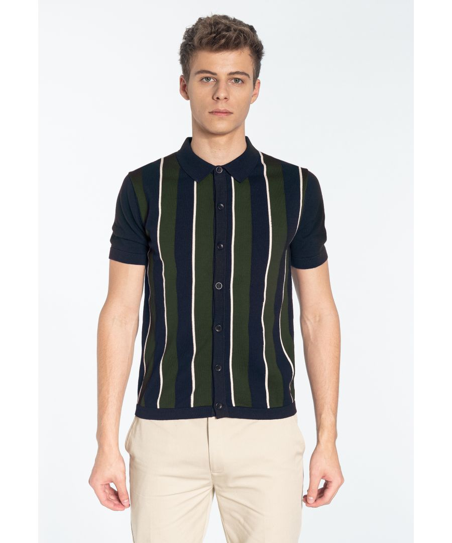 Image for RAVENDALE, Men's Vertical Stripe Knitted Polo Shirt in Navy