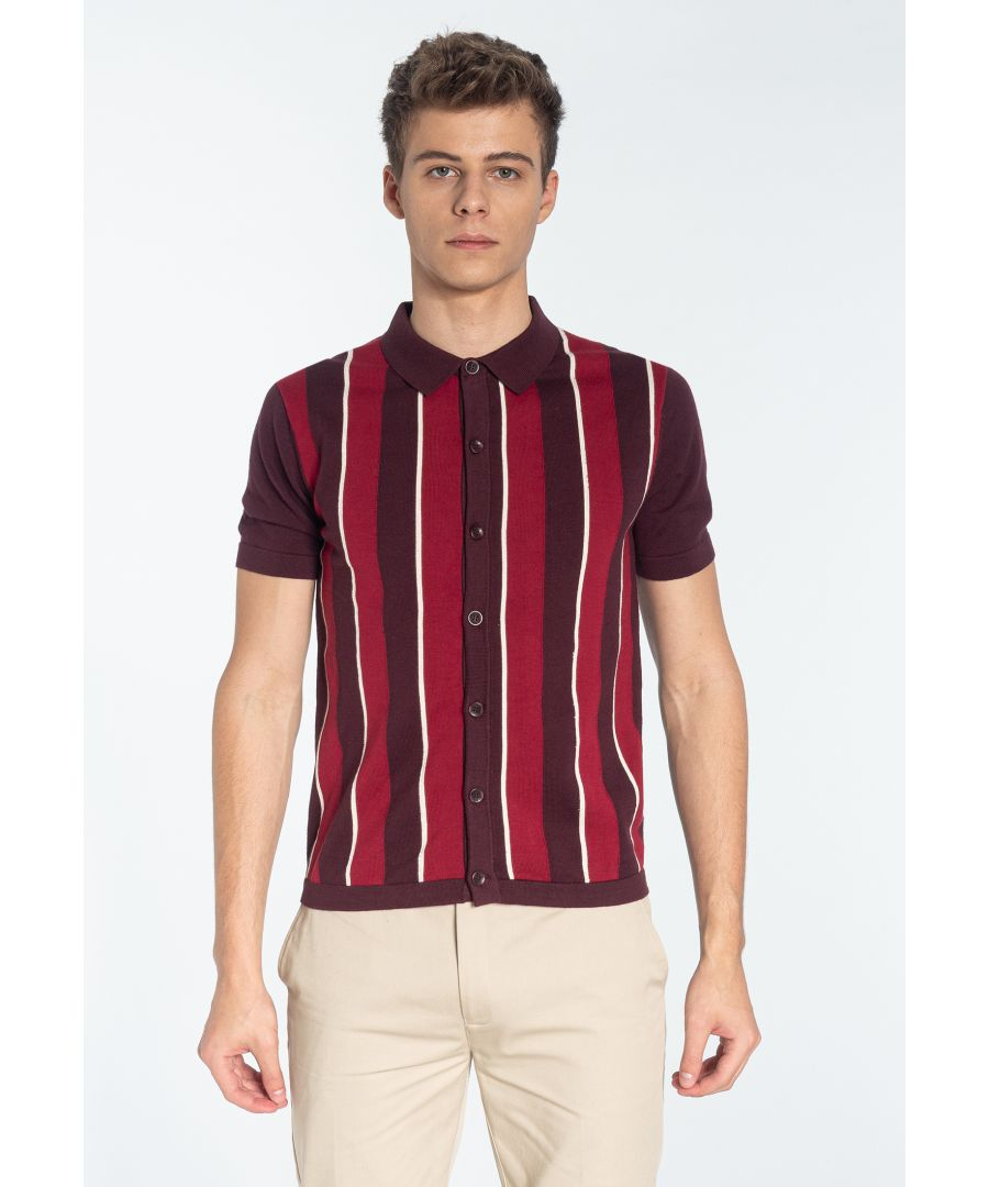 Image for RAVENDALE, Men's Vertical Stripe Knitted Polo Shirt in Mahogany