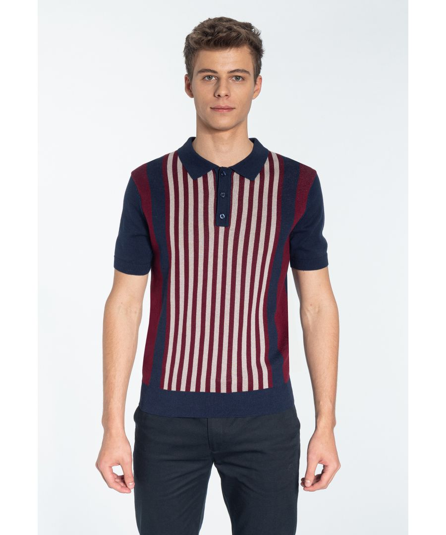 Image for NORTHBROOK, Men's Vertical Stripe Knitted Polo Shirt in Navy