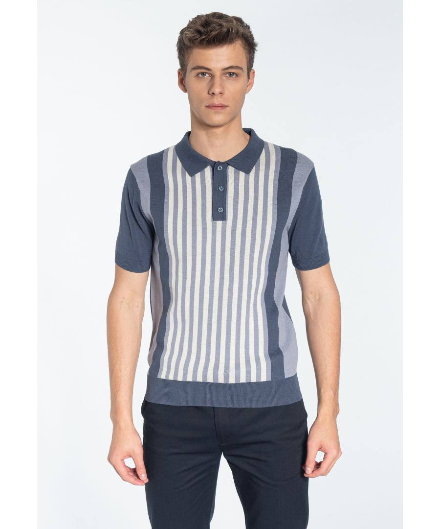 Image for NORTHBROOK, Men's Vertical Stripe Knitted Polo Shirt in Slate Blue