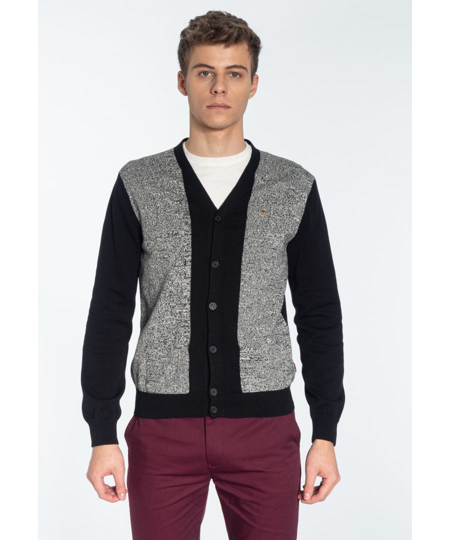 Image for HOLT, Men's Mouline Colour Block Cardigan in Black