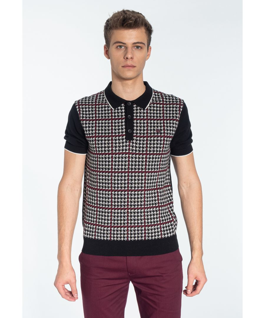 Image for TOPHILL, Men's Houndstooth Jacquard Knitted Polo Shirt in Black