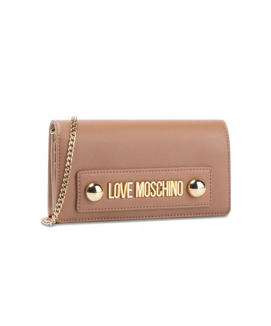 Image for Love Moschino Zip Around Wallet with Dome Studs and Chain in Brown