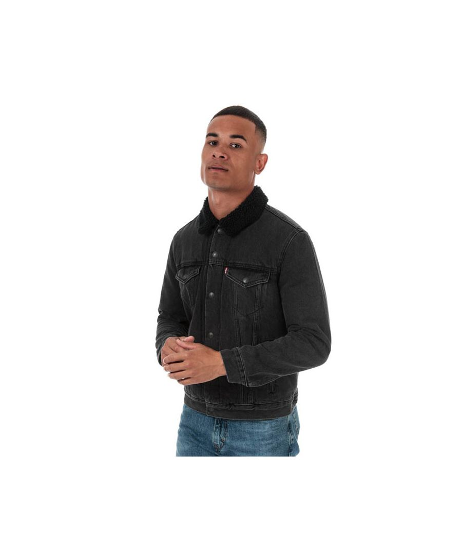 Image for Men's Levis Embossed Logo Sherpa Trucker Jacket in Black
