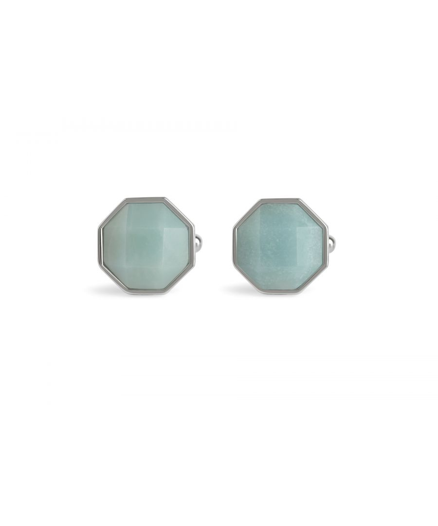 Image for Facetted Amazonite Octagon Cufflinks
