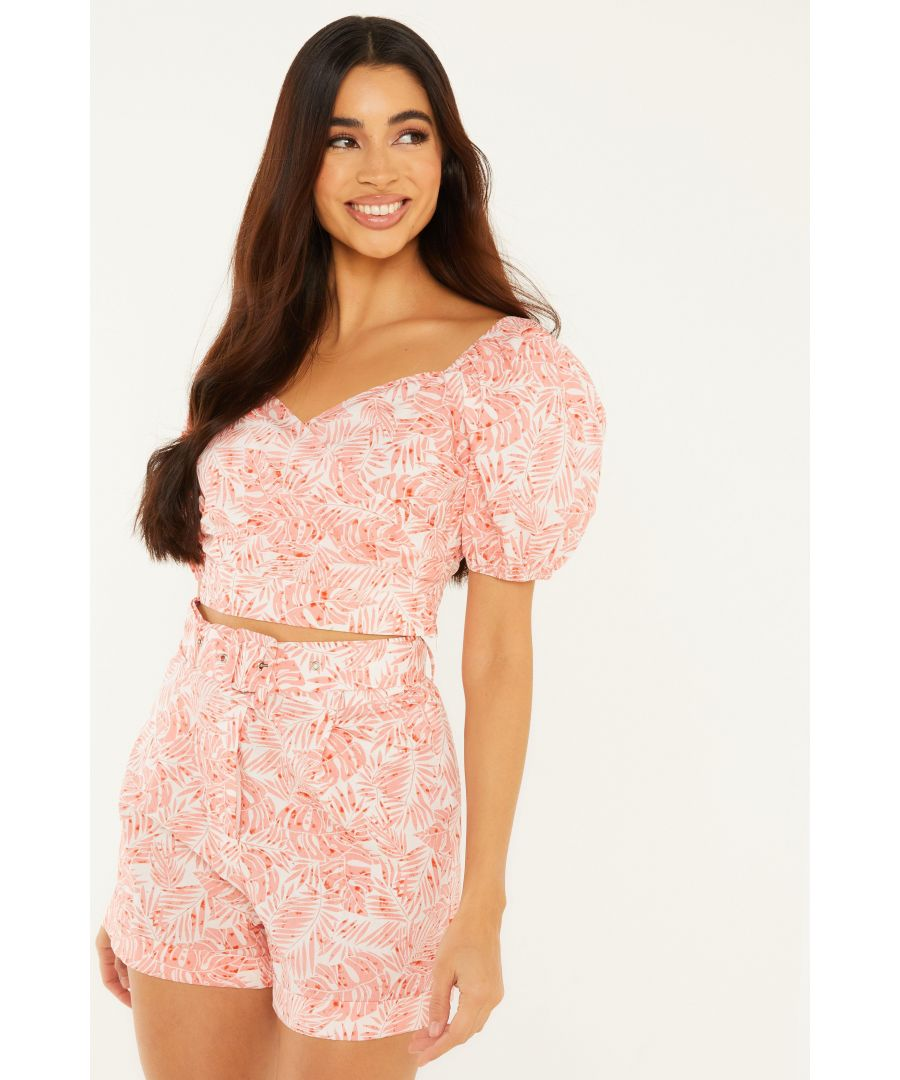 Image for Coral Tropical Print Shorts