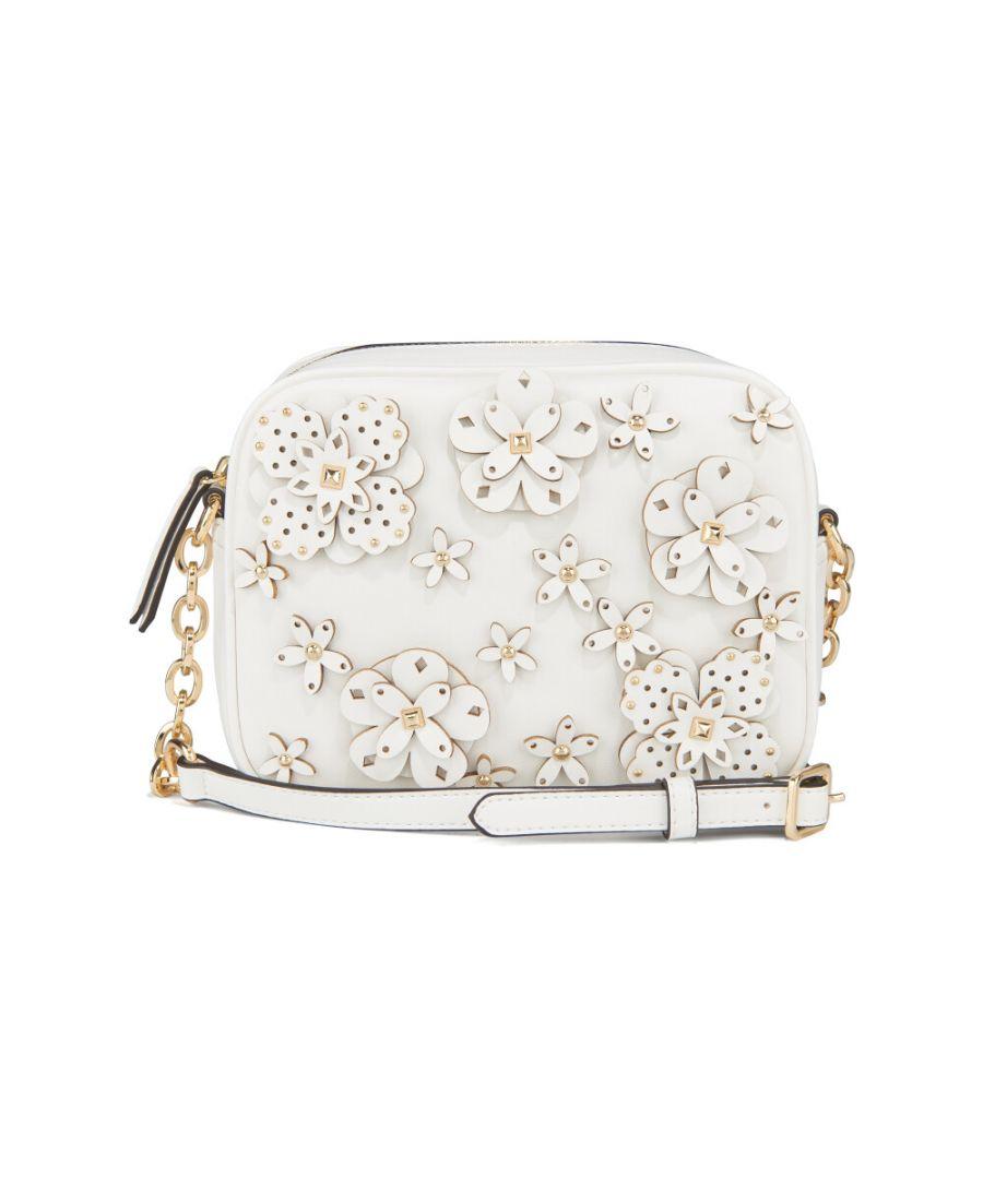Image for Nine West Women's 3D Floral Mini Nicolina Camera Cross Body Bag - White