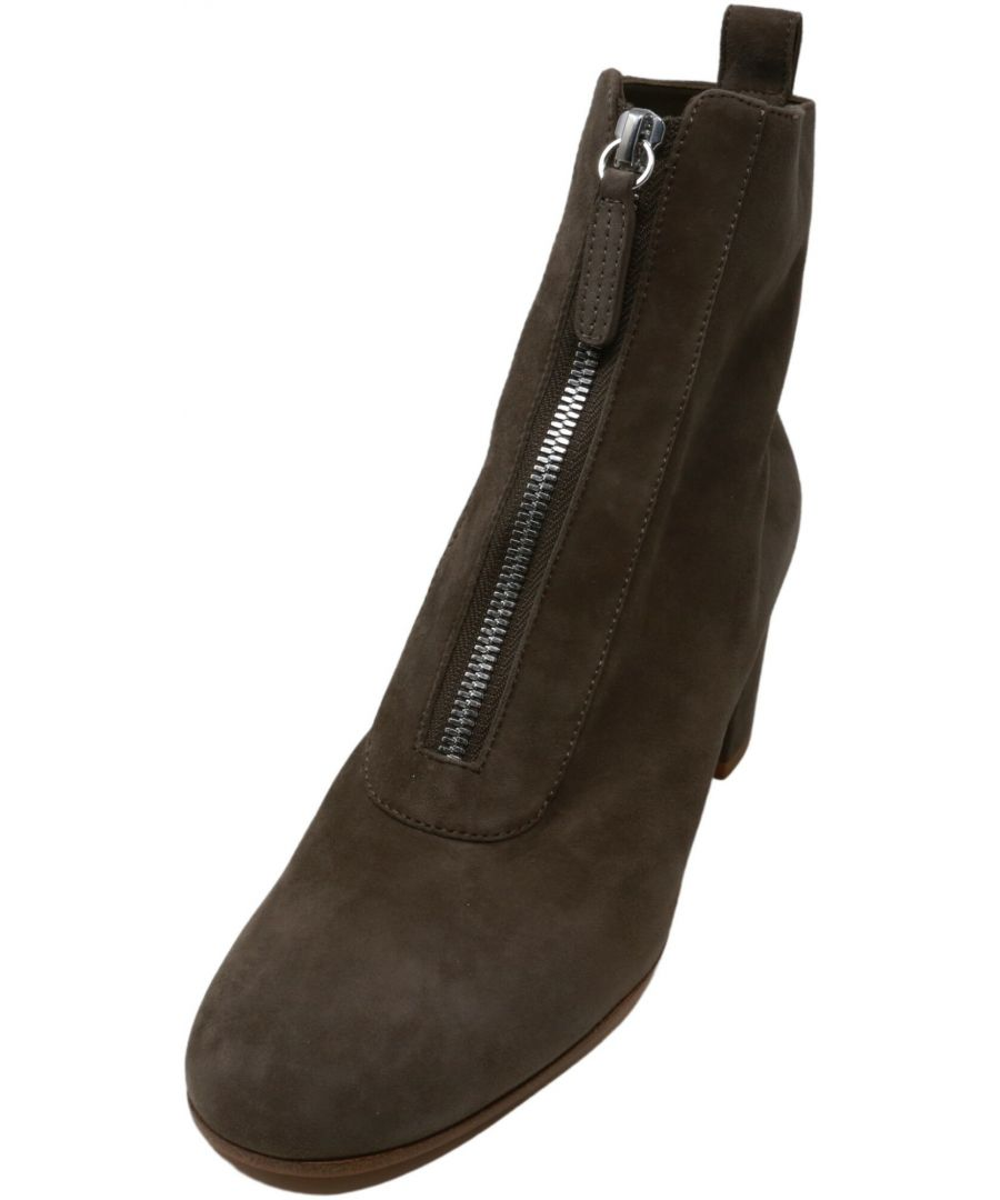Image for Gianvito Rossi Women's Camoscio Camel Front Zip Bootie Ankle-High Suede Boot