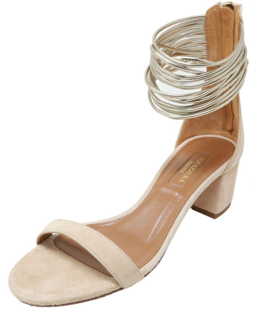 Image for Aquazurra Firenze Women's Smamidso Suede Sandal High-Top Leather Heel