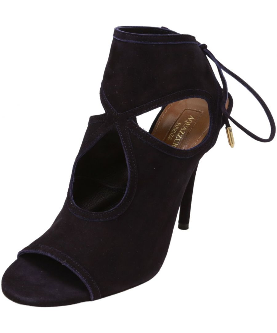 Image for Aquazurra Firenze Women's Sexy Thing 105 Suede Sandal High-Top Leather Pump