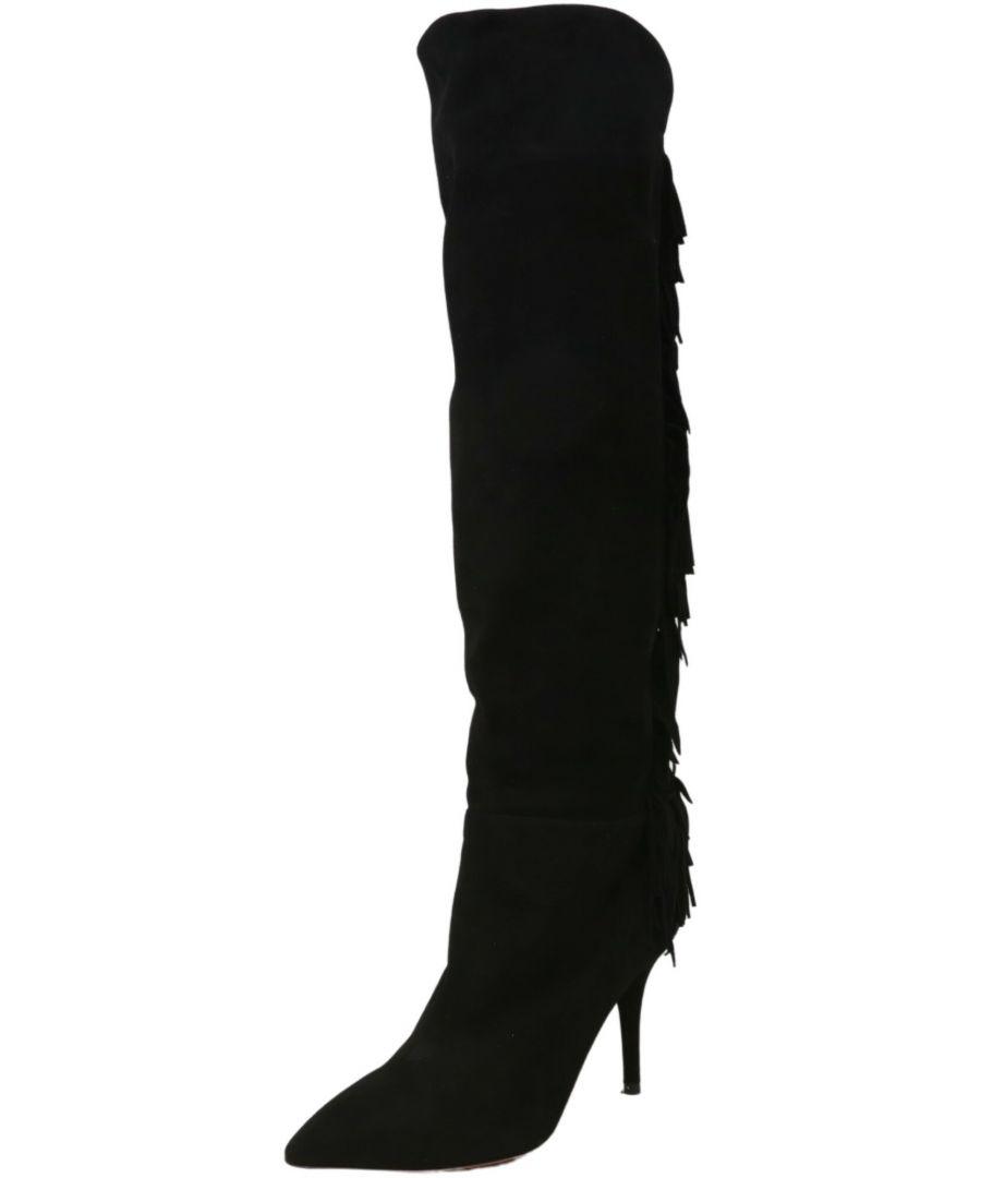 Image for Aquazzura Firenze Women's Suede Fringe Boot Mid-Calf