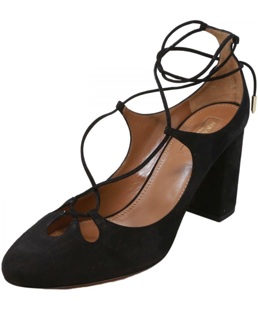 Image for Aquazzura Firenze Women's Dancer Pump 85 Suede Ankle-High
