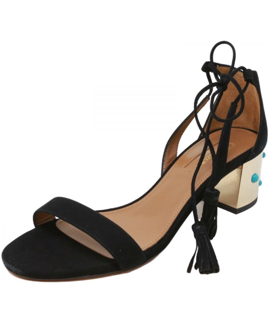 Image for Aquazzura Firenze Women's Cleopatra Sandal 50 Suede Ankle-High Pump