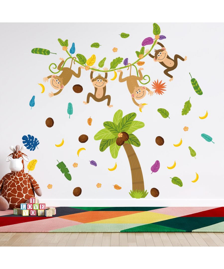 Image for Colourful Jungle With Happy Monkeys, wall decal kids room 150 cm x 121 cm 65 pcs