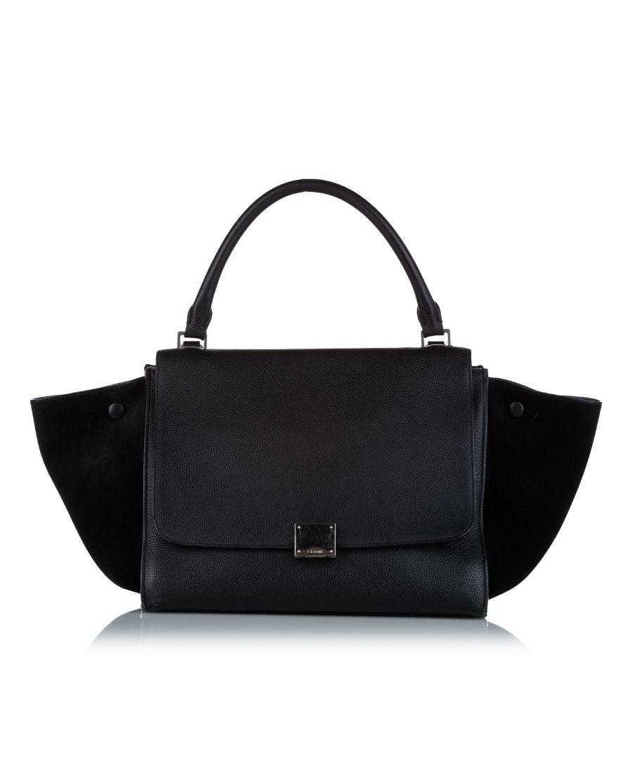 Image for Vintage Celine Medium Trapeze Leather Satchel Black