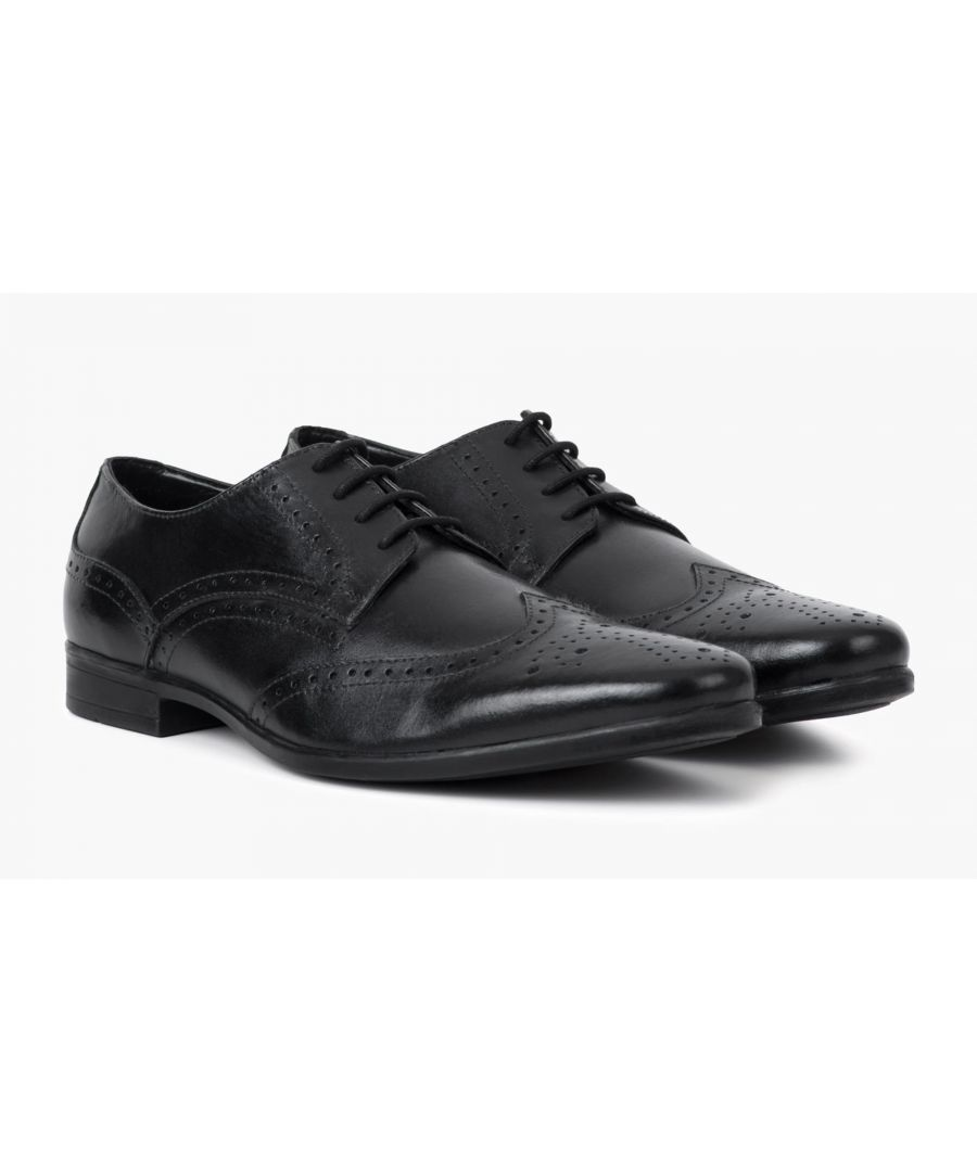 Image for Redfoot Jenson Black Leather Brogue Shoe