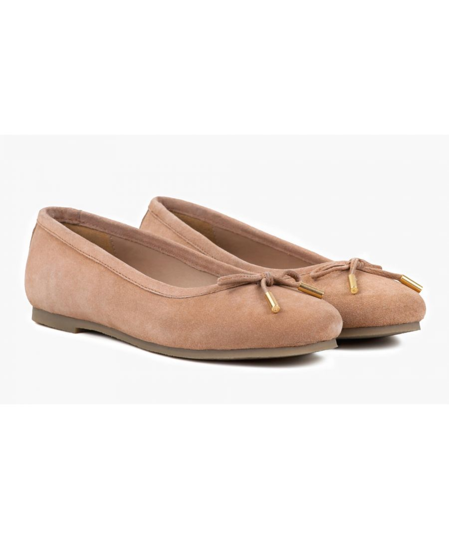 Image for Redfoot Darcey Nude Suede Flat Pumps