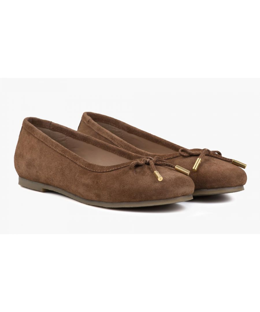Image for Redfoot Darcey Tan Suede Flat Pumps