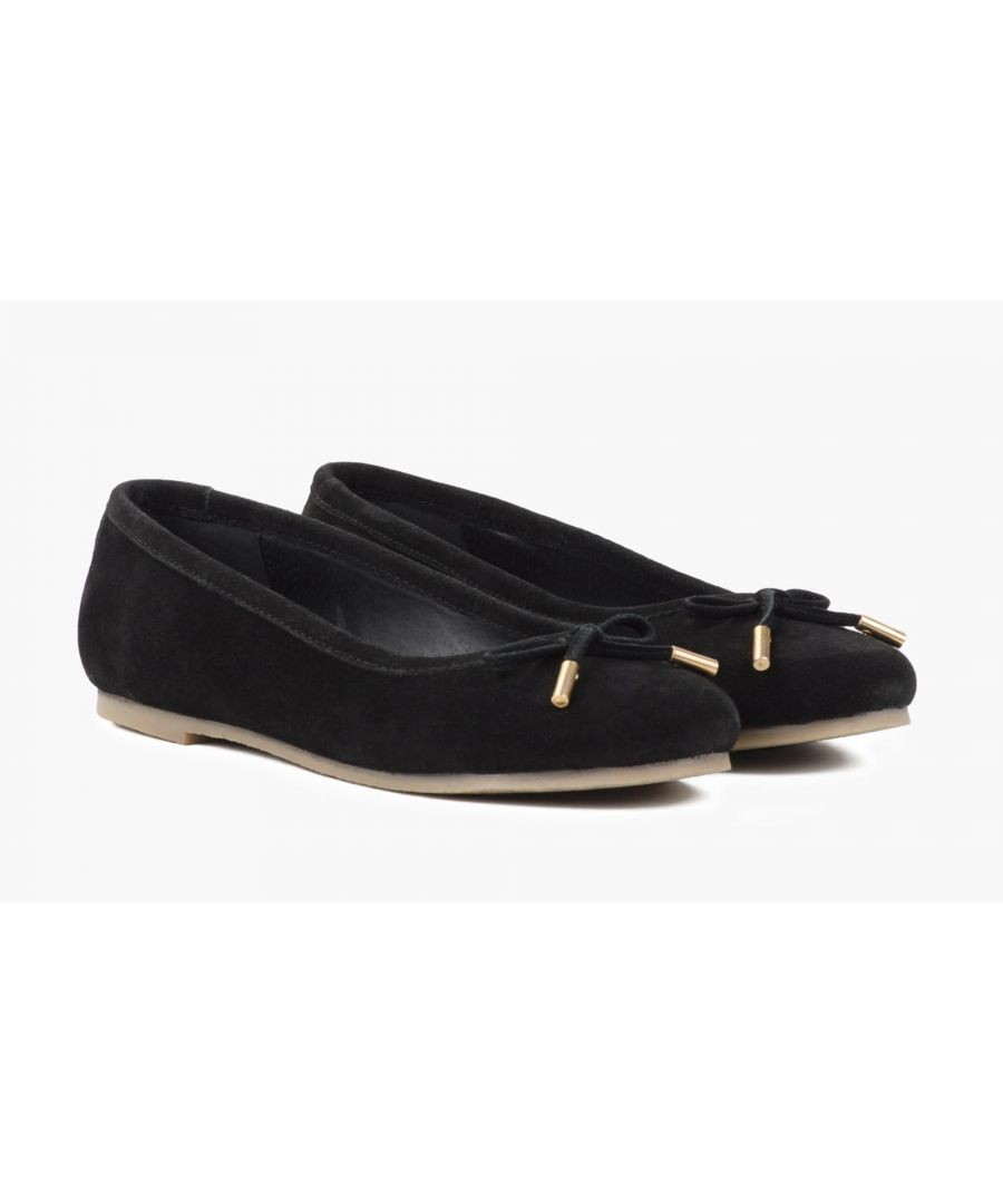 Image for Redfoot Darcey Black Suede Flat Pumps
