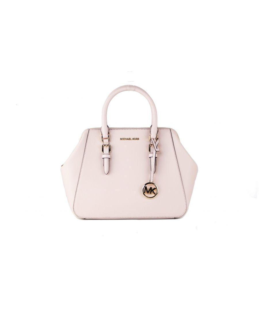 Image for Michael Kors Charlotte Large Leather Crossbody Satchel Handbag (Powder Blush Solid)