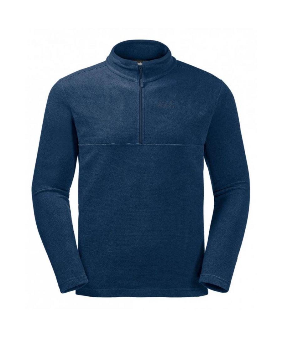 Image for Jack Wolfskin Arco 1/4 Zip Mens Fleece Sweatshirt Navy Blue - M