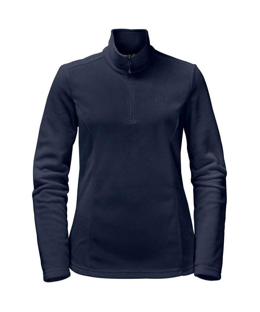Image for Jack Wolfskin Gecko 1/4 Zip Womens Fleece Sweatshirt Navy Blue - UK 8-10