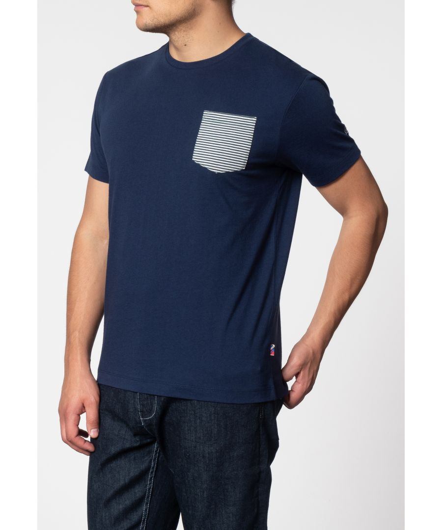Image for Eagle Short Sleeve T-Shirt With Stripe Pocket In Navy