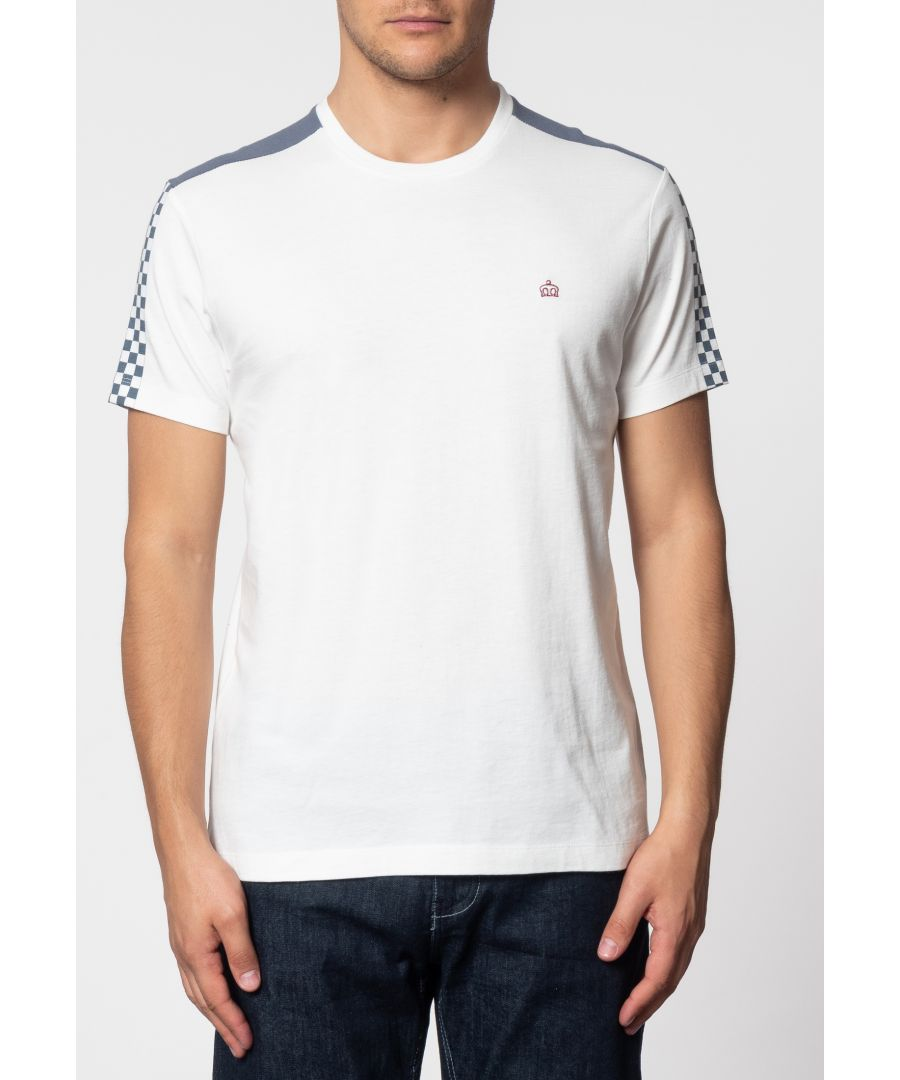 Image for Hillgate Ska Print T-Shirt With Short Sleeves And Round Neck Collar In Off White