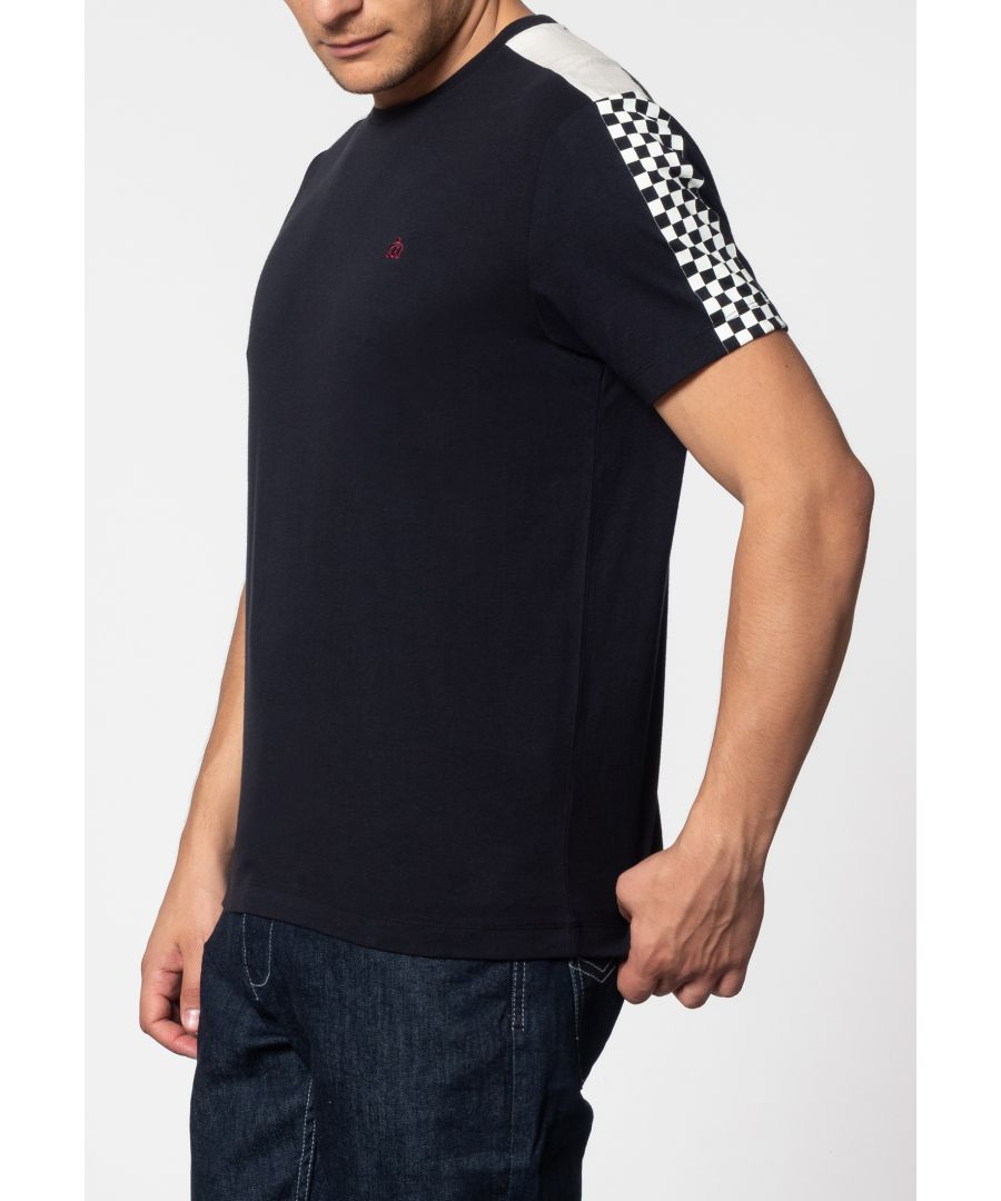 Image for Hillgate Ska Print T-Shirt With Short Sleeves And Round Neck Collar In Dark Navy