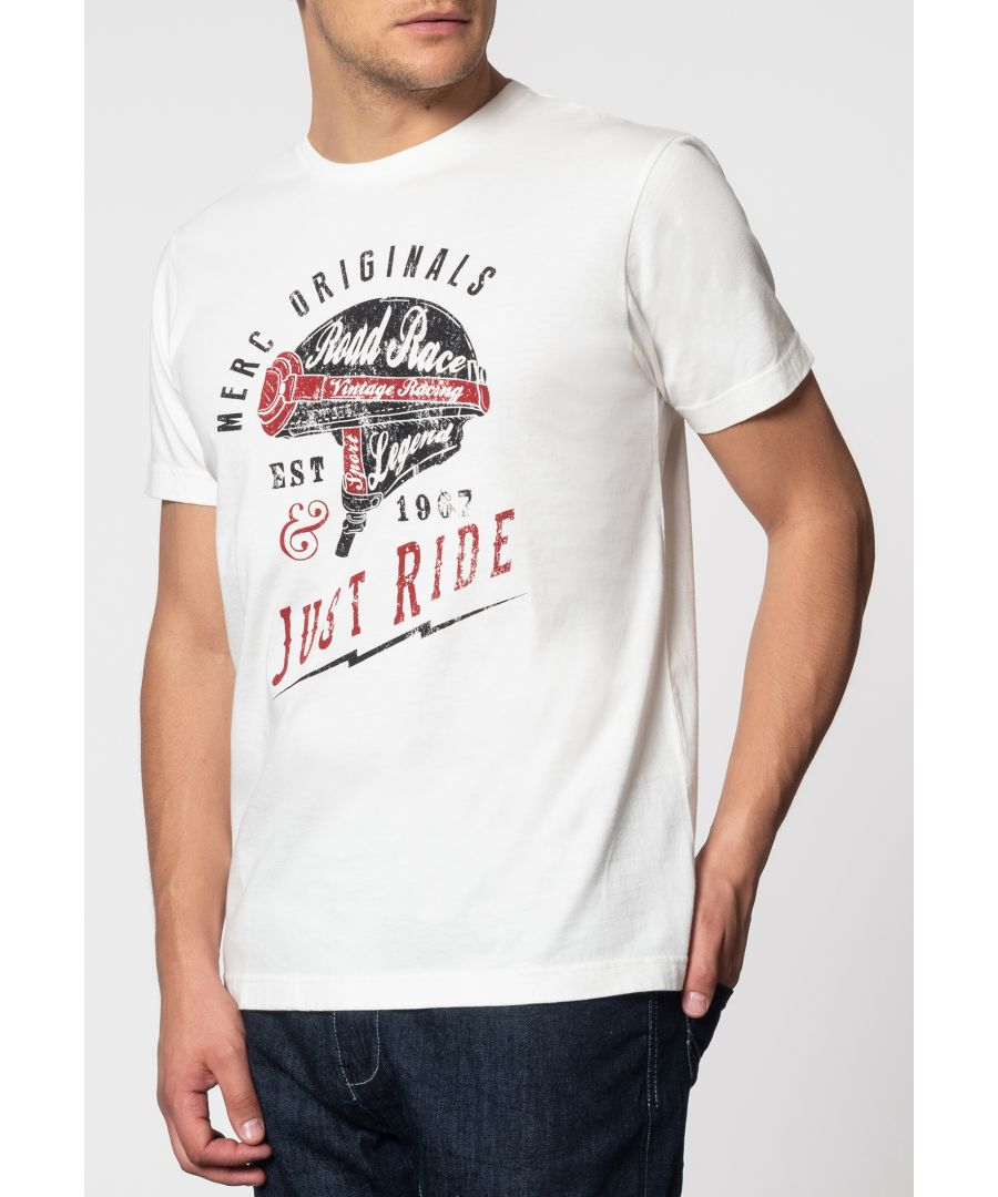 Image for Mason Helmet Graphic Print T-Shirt With Short Sleeves And Round Neck Collar In Cream